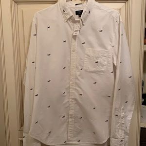 NWT J. Crew Button Down with Shark Novelty Pattern